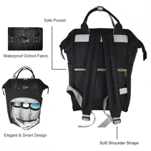 Diaper Bag Backpack Designer Baby Nappy Bag for Girls & Boys Waterproof Travel Backpack for Baby Care, Large Capacity, Stylish and Durable, Black