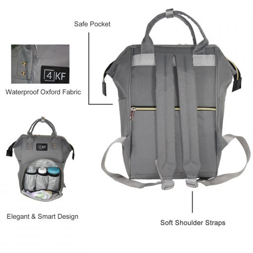 Diaper Bag Backpack Designer Baby Nappy Bag for Girls & Boys Waterproof Travel Backpack for Baby Care, Large Capacity, Stylish and Durable, Gray