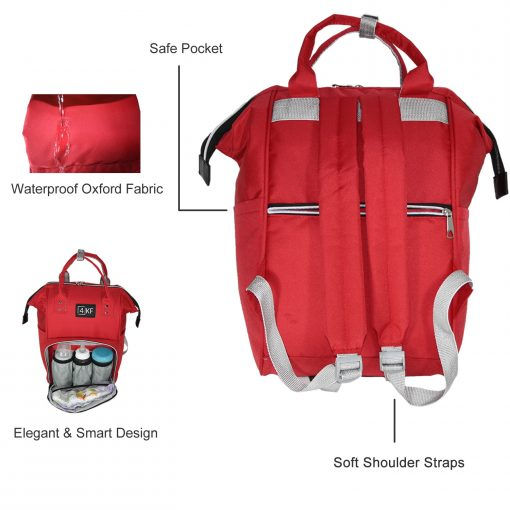 Diaper Bag Backpack Designer Baby Nappy Bag for Girls & Boys Waterproof Travel Backpack for Baby Care, Large Capacity, Stylish and Durable, Red